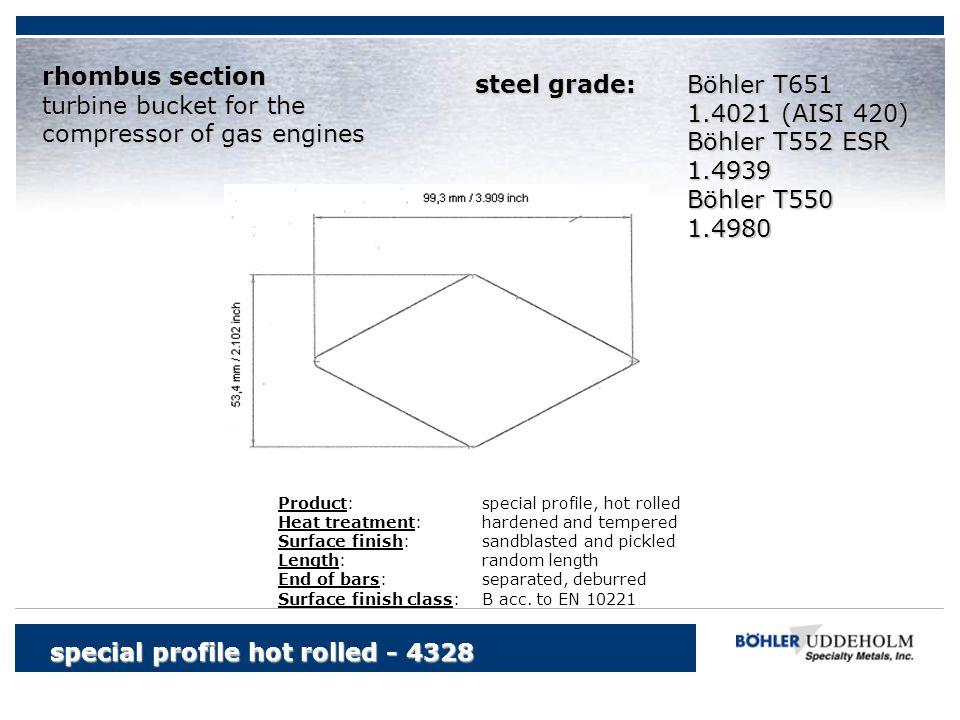 Böhler T651 1.4021 (AISI 420) Böhler T552 ESR 1.4939 Böhler T550 1.4980 special profile hot rolled - 4328 rhombus section turbine bucket for the compr