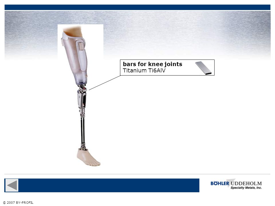 bars for knee joints Titanium Ti6AlV © 2007 BY-PROFIL