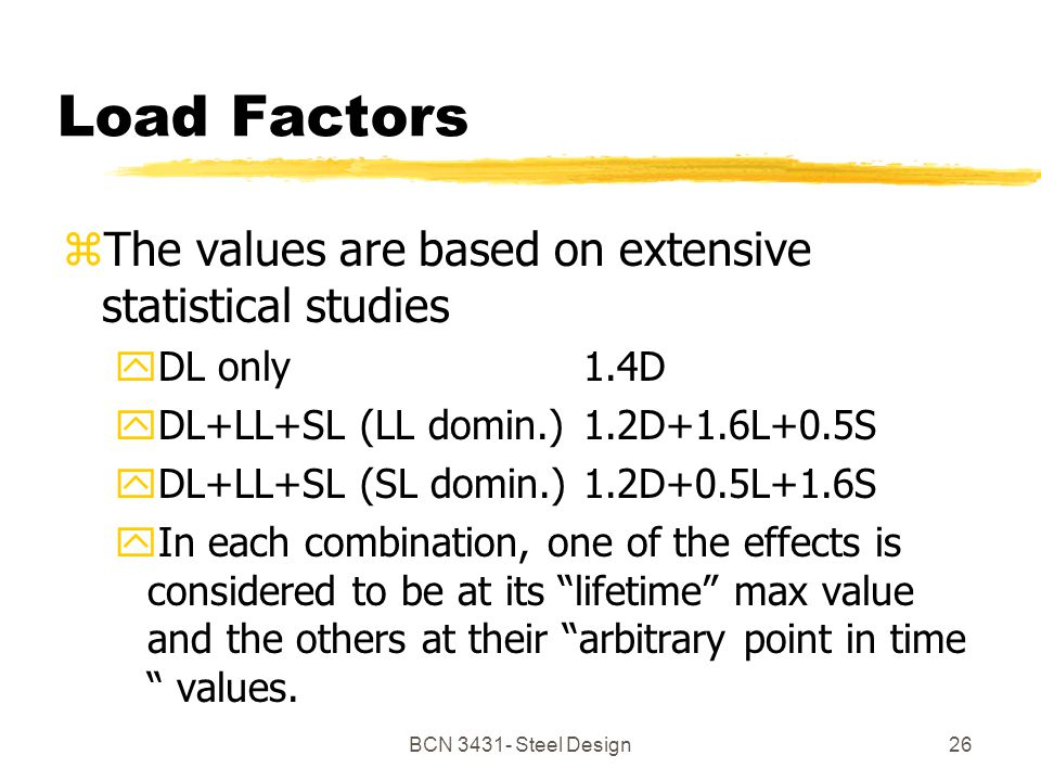 BCN Steel Design26 Load Factors zThe values are based on extensive statistical studies yDL only 1.4D yDL+LL+SL (LL domin.)1.2D+1.6L+0.5S yDL+LL+SL (SL domin.)1.2D+0.5L+1.6S yIn each combination, one of the effects is considered to be at its lifetime max value and the others at their arbitrary point in time values.