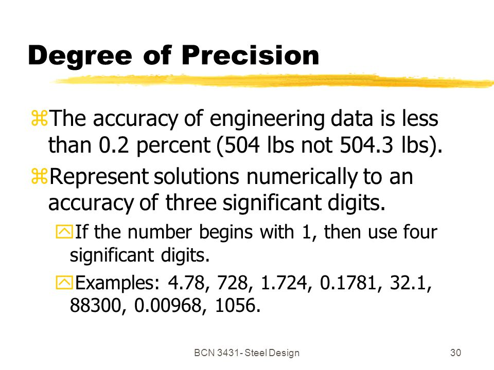 BCN Steel Design30 Degree of Precision zThe accuracy of engineering data is less than 0.2 percent (504 lbs not lbs).