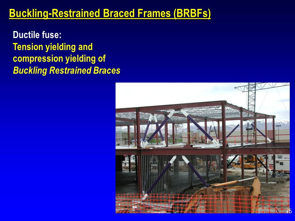 Buckling-Restrained Braced Frames (BRBFs) Ductile fuse: Tension yielding and compression yielding of Buckling Restrained Braces 75