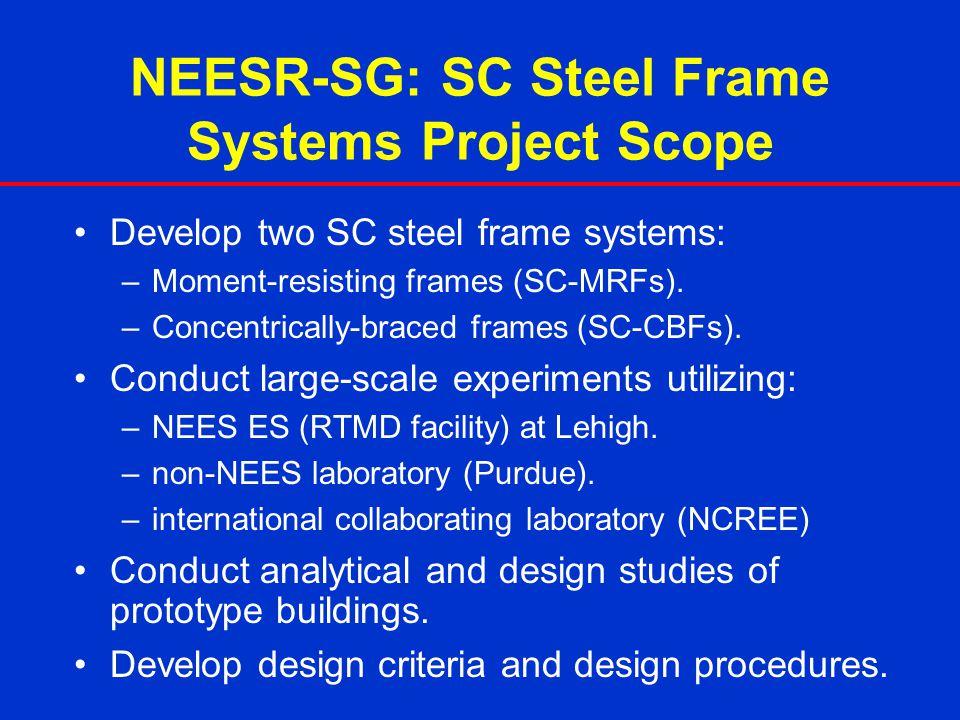 NEESR-SG: SC Steel Frame Systems Project Scope Develop two SC steel frame systems: –Moment-resisting frames (SC-MRFs). –Concentrically-braced frames (