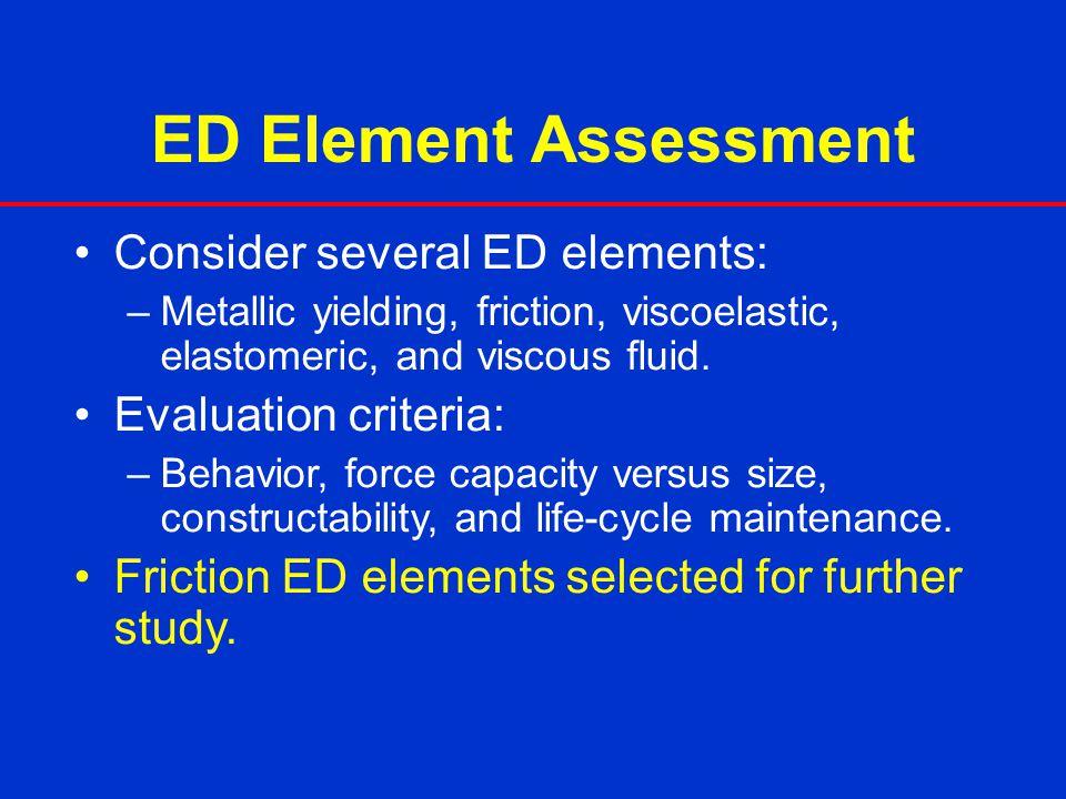 ED Element Assessment Consider several ED elements: –Metallic yielding, friction, viscoelastic, elastomeric, and viscous fluid. Evaluation criteria: –