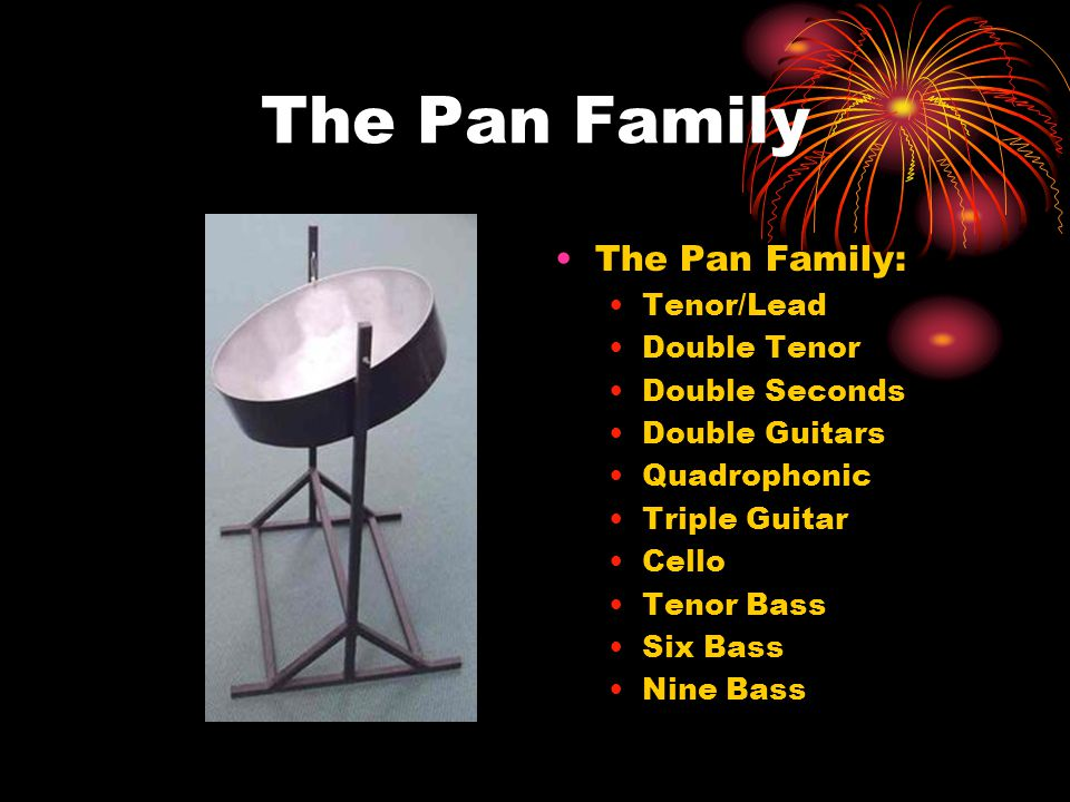 The Pan Family The Pan Family: Tenor/Lead Double Tenor Double Seconds Double Guitars Quadrophonic Triple Guitar Cello Tenor Bass Six Bass Nine Bass