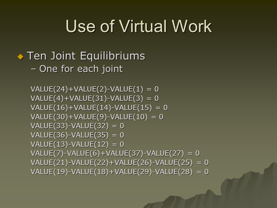 Use of Virtual Work Ten Joint Equilibriums Ten Joint Equilibriums –One for each joint VALUE(24)+VALUE(2)-VALUE(1) = 0 VALUE(4)+VALUE(31)-VALUE(3) = 0 VALUE(16)+VALUE(14)-VALUE(15) = 0 VALUE(30)+VALUE(9)-VALUE(10) = 0 VALUE(33)-VALUE(32) = 0 VALUE(36)-VALUE(35) = 0 VALUE(13)-VALUE(12) = 0 VALUE(7)-VALUE(6)+VALUE(37)-VALUE(27) = 0 VALUE(21)-VALUE(22)+VALUE(26)-VALUE(25) = 0 VALUE(19)-VALUE(18)+VALUE(29)-VALUE(28) = 0