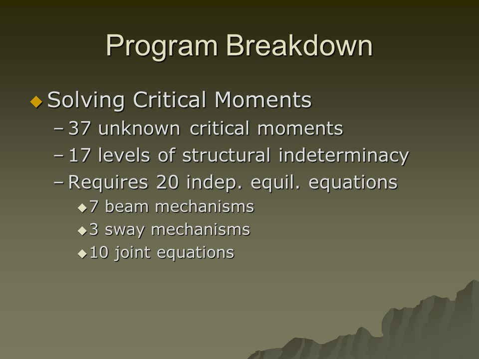 Program Breakdown Solving Critical Moments Solving Critical Moments –37 unknown critical moments –17 levels of structural indeterminacy –Requires 20 indep.