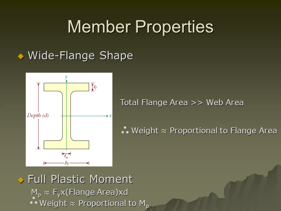 Member Properties Wide-Flange Shape Wide-Flange Shape Full Plastic Moment Full Plastic Moment M p F y x(Flange Area)xd Weight Proportional to M p Weight Proportional to M p Total Flange Area >> Web Area Weight Proportional to Flange Area Weight Proportional to Flange Area