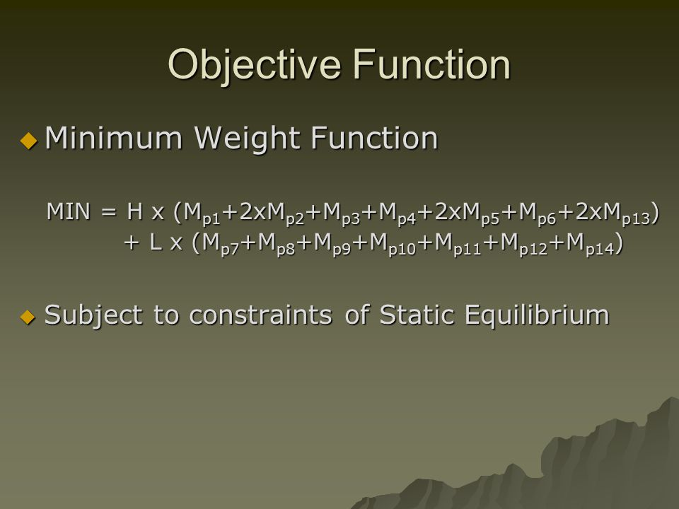 Objective Function Minimum Weight Function Minimum Weight Function MIN = H x (M p1 +2xM p2 +M p3 +M p4 +2xM p5 +M p6 +2xM p13 ) MIN = H x (M p1 +2xM p2 +M p3 +M p4 +2xM p5 +M p6 +2xM p13 ) + L x (M p7 +M p8 +M p9 +M p10 +M p11 +M p12 +M p14 ) + L x (M p7 +M p8 +M p9 +M p10 +M p11 +M p12 +M p14 ) Subject to constraints of Static Equilibrium Subject to constraints of Static Equilibrium