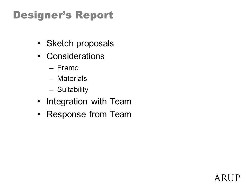 Designers Report Sketch proposals Considerations –Frame –Materials –Suitability Integration with Team Response from Team
