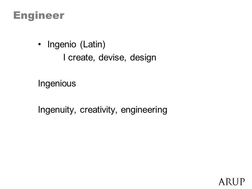 Engineer Ingenio (Latin) I create, devise, design Ingenious Ingenuity, creativity, engineering