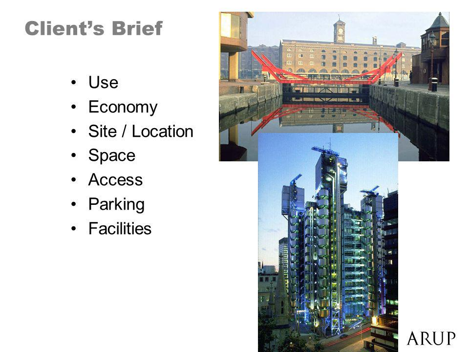 Clients Brief Use Economy Site / Location Space Access Parking Facilities