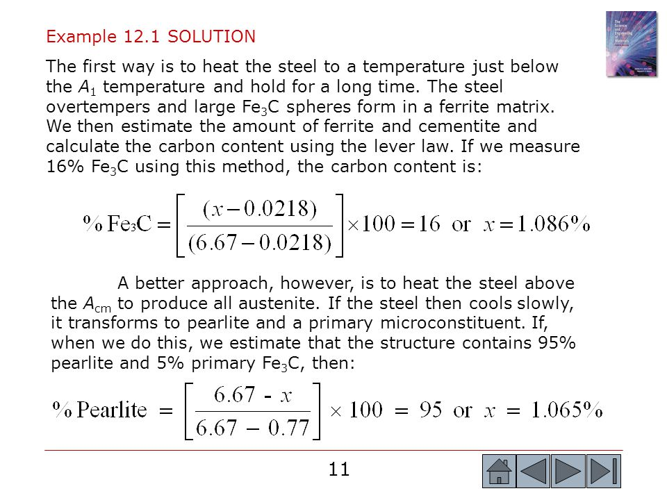 11 Example 12.1 SOLUTION The first way is to heat the steel to a temperature just below the A 1 temperature and hold for a long time. The steel overte