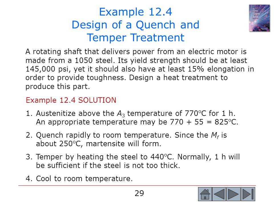29 Example 12.4 Design of a Quench and Temper Treatment A rotating shaft that delivers power from an electric motor is made from a 1050 steel. Its yie