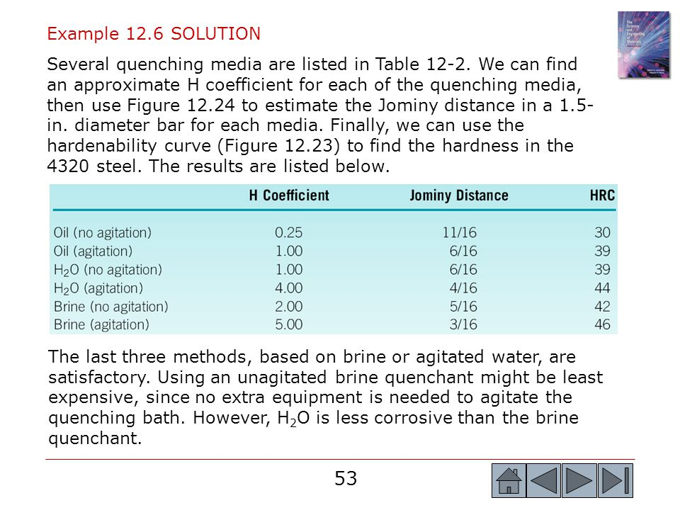 53 Example 12.6 SOLUTION Several quenching media are listed in Table 12-2. We can find an approximate H coefficient for each of the quenching media, t
