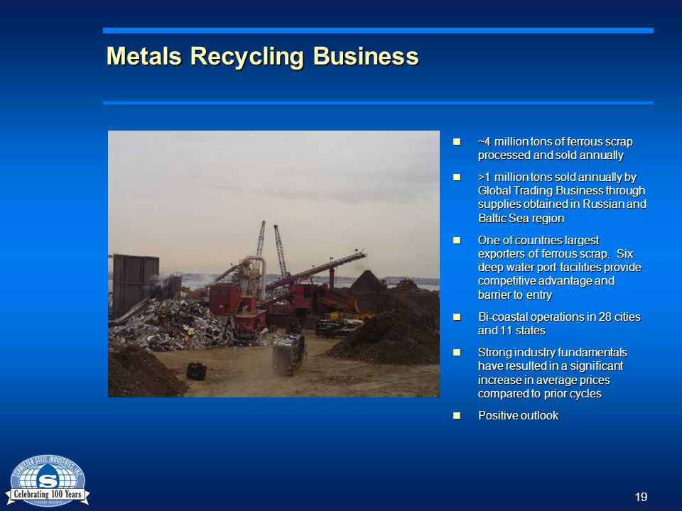 19 Metals Recycling Business ~4 million tons of ferrous scrap processed and sold annually ~4 million tons of ferrous scrap processed and sold annually >1 million tons sold annually by Global Trading Business through supplies obtained in Russian and Baltic Sea region >1 million tons sold annually by Global Trading Business through supplies obtained in Russian and Baltic Sea region One of countries largest exporters of ferrous scrap.