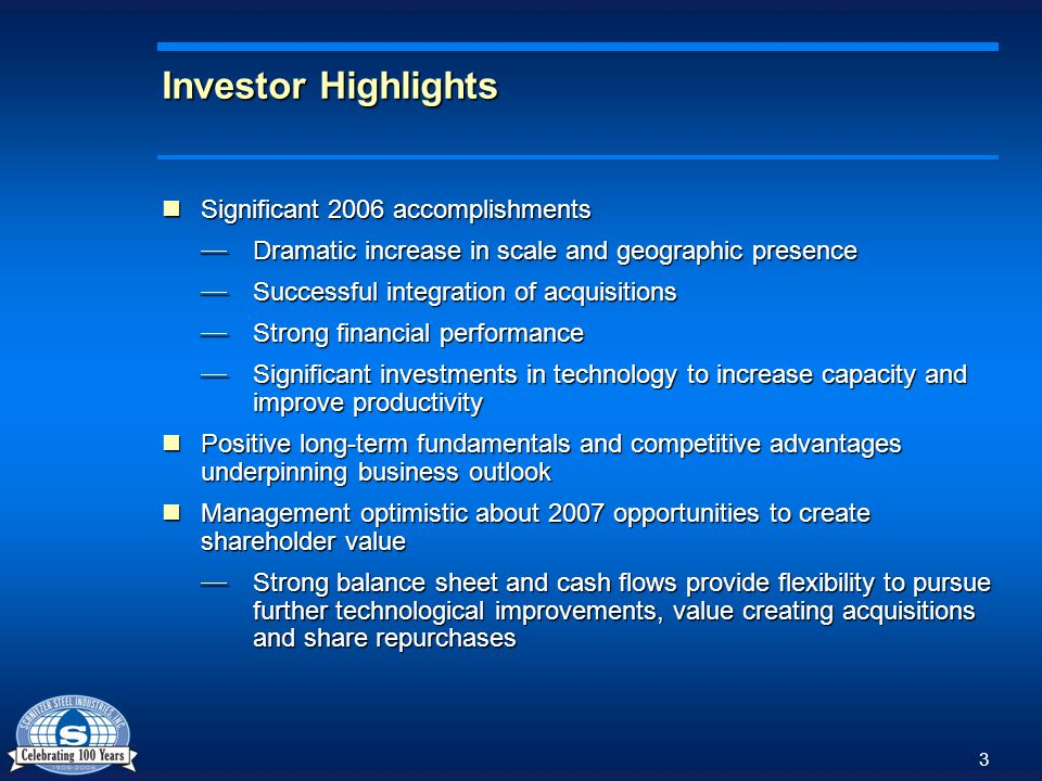 4 Significant 2006 Accomplishments- Scale Dramatic increase in scale and geographic presence Dramatic increase in scale and geographic presence Successful integration of four acquisitions Successful integration of four acquisitions Doubling of ferrous processing volumes; 2.5X increase in non ferrous volumes Doubling of ferrous processing volumes; 2.5X increase in non ferrous volumes Doubling of auto parts revenue; 17% increase in self-service locations and entry into full-service market Doubling of auto parts revenue; 17% increase in self-service locations and entry into full-service market 100k ton increase in steel manufacturing sales volumes 100k ton increase in steel manufacturing sales volumes Ferrous Tons (Millions) Non Ferrous Pounds (Millions)