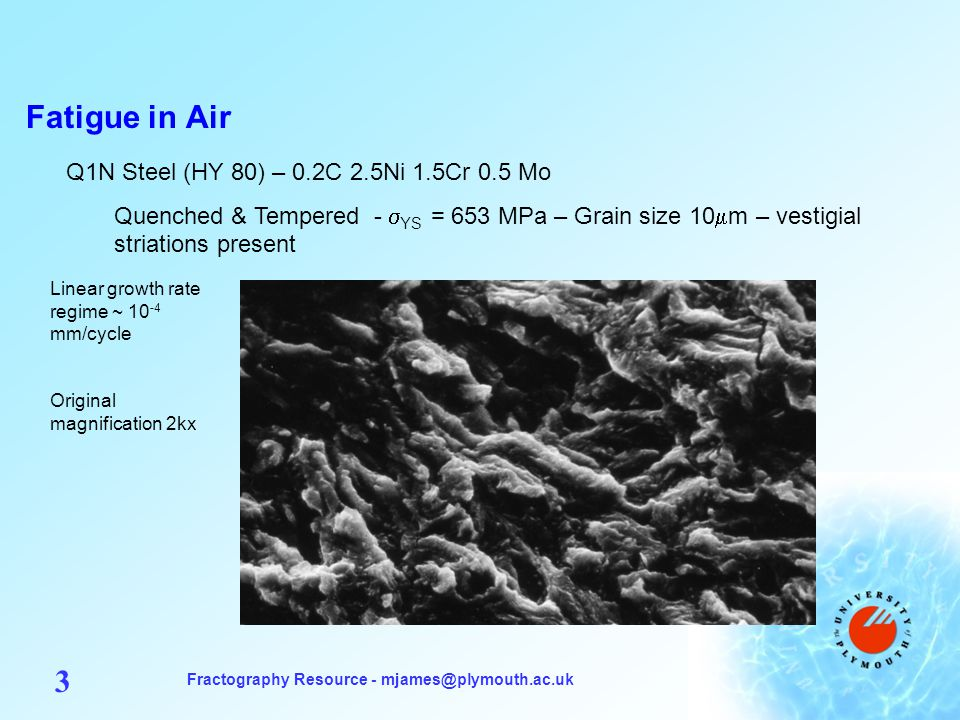 Fractography Resource - mjames@plymouth.ac.uk 3 Fatigue in Air Q1N Steel (HY 80) – 0.2C 2.5Ni 1.5Cr 0.5 Mo Quenched & Tempered - YS = 653 MPa – Grain size 10 m – vestigial striations present Linear growth rate regime ~ 10 -4 mm/cycle Original magnification 2kx