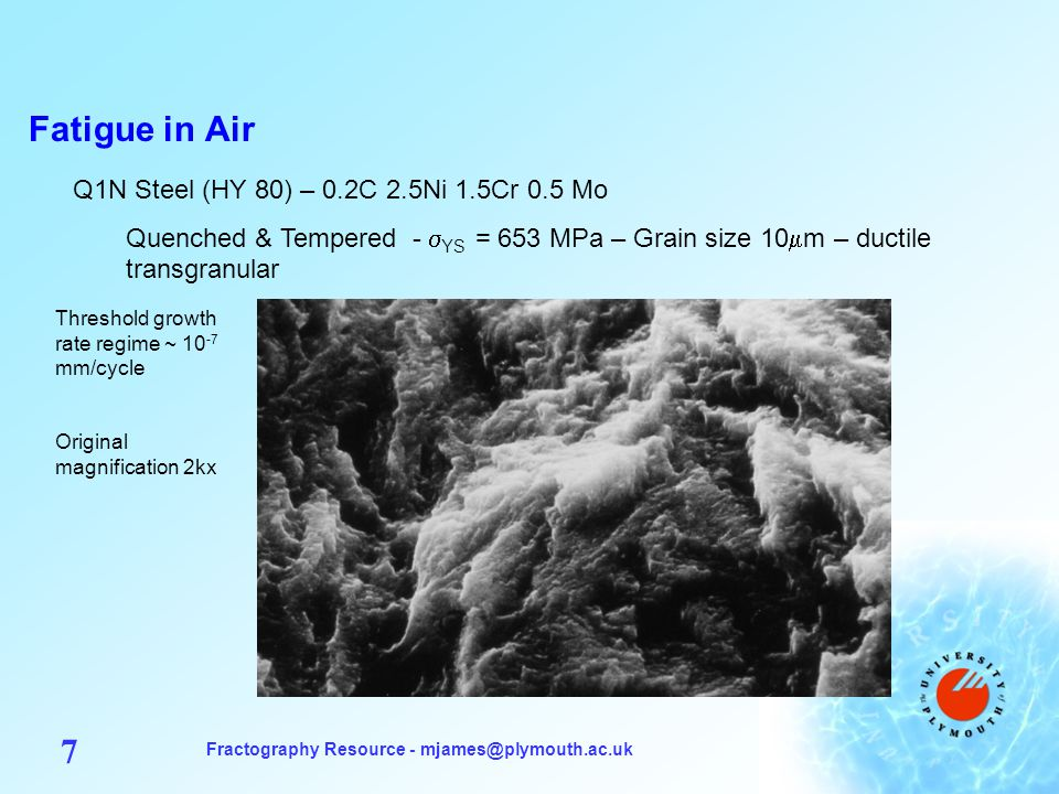 Fractography Resource - mjames@plymouth.ac.uk 18 Fatigue in Vacuum Q1N Steel (HY 80) – 0.2C 2.5Ni 1.5Cr 0.5 Mo Q&T - Grain size 10 m – no knee in da/dN curve, implying no mechanism change over range of growth rate 10 -4 to 10 -7 mm/cycle.