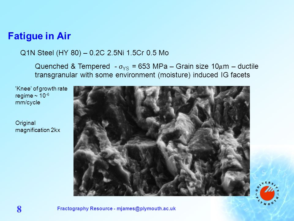 Fractography Resource - mjames@plymouth.ac.uk 9 Fatigue in Air Q1N Steel (HY 80) – 0.2C 2.5Ni 1.5Cr 0.5 Mo Quenched & Tempered - YS = 653 MPa – Grain size 10 m – ductile transgranular with some moisture-induced oxide build-up by fretting Knee of growth rate regime ~ 10 -6 mm/cycle Original magnification 1.15kx Mechanism of oxide- induced fatigue crack closure