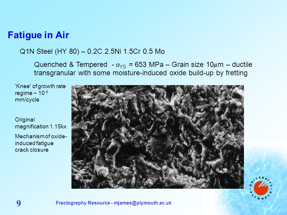 Fractography Resource - mjames@plymouth.ac.uk 30 Low Carbon Interstitial-Free Steel Typically 0.002C 0.15Mn + Ti, Nb or B additions - YS = 160-200 MPa Some of these steels show IG fatigue at low levels of plasticity (e.g.