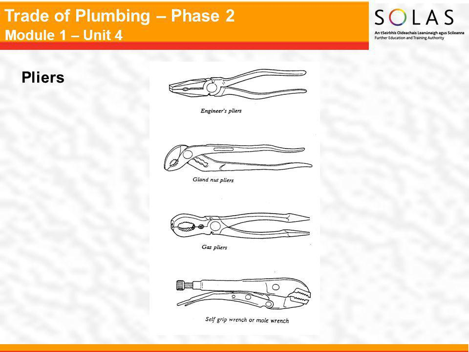 Trade of Plumbing – Phase 2 Module 1 – Unit 4 Pliers