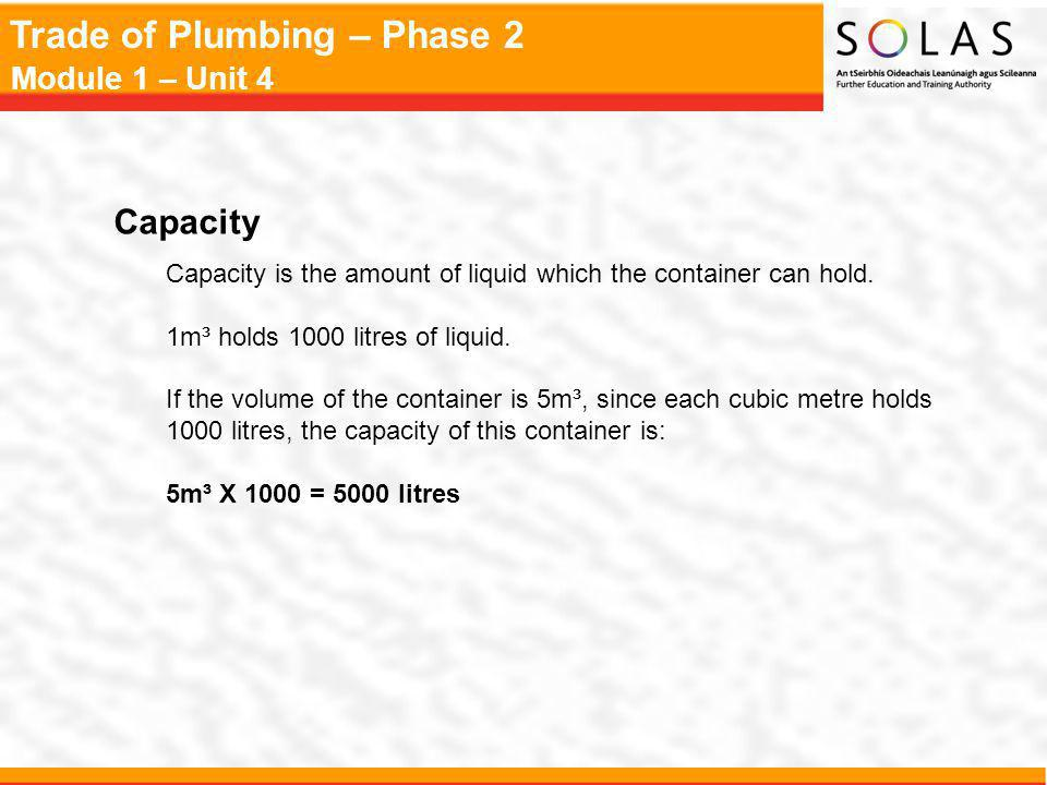 Trade of Plumbing – Phase 2 Module 1 – Unit 4 Capacity Capacity is the amount of liquid which the container can hold. 1m³ holds 1000 litres of liquid.