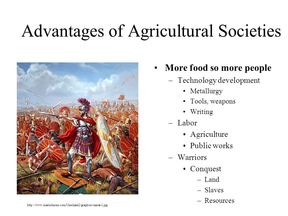 Advantages of Agricultural Societies More food so more people –Technology development Metallurgy Tools, weapons Writing –Labor Agriculture Public works –Warriors Conquest –Land –Slaves –Resources http://www.markchurms.com/Merchant2/graphics/caesar-l.jpg