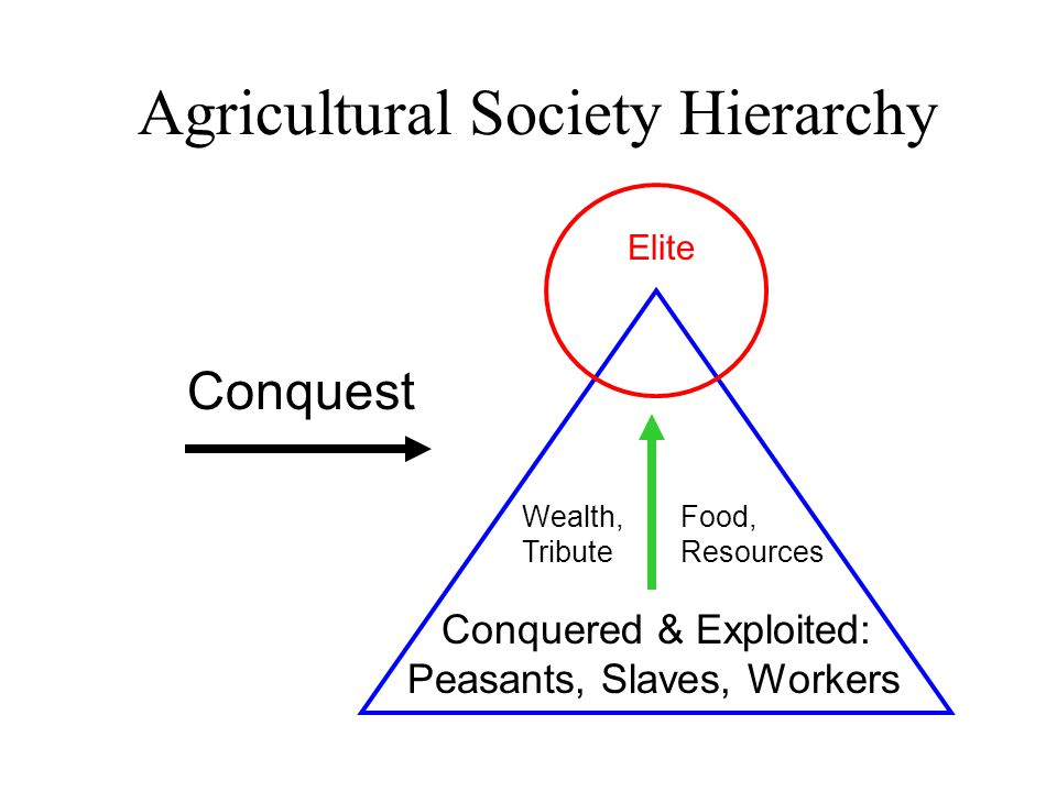 Agricultural Society Hierarchy Elite Conquered & Exploited: Peasants, Slaves, Workers Wealth, Tribute Conquest Food, Resources