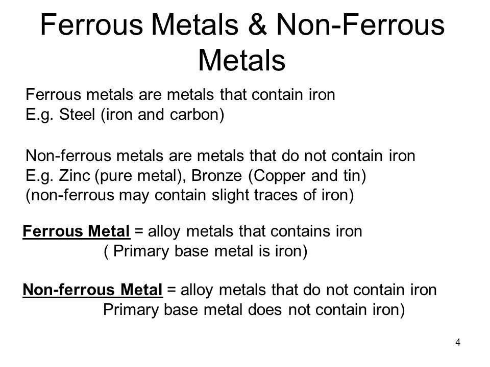 4 Ferrous Metals & Non-Ferrous Metals Ferrous metals are metals that contain iron E.g.