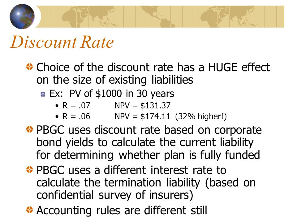 Discount Rate Choice of the discount rate has a HUGE effect on the size of existing liabilities Ex: PV of $1000 in 30 years R =.07NPV = $131.37 R =.06