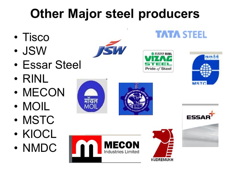 Other Major steel producers Tisco JSW Essar Steel RINL MECON MOIL MSTC KIOCL NMDC