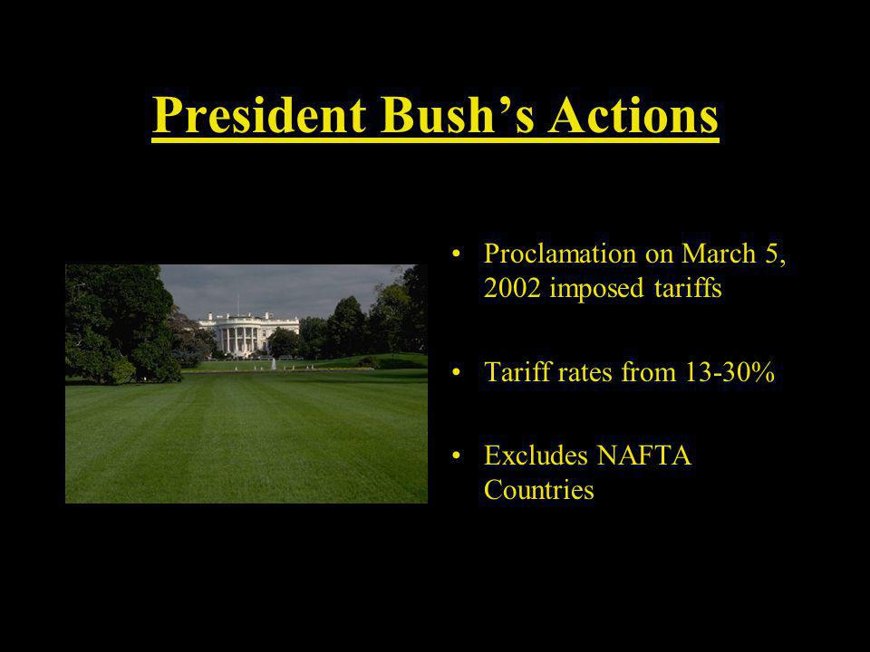 President Bushs Actions Proclamation on March 5, 2002 imposed tariffs Tariff rates from 13-30% Excludes NAFTA Countries