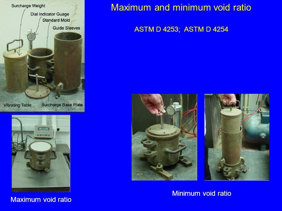 ASTM D 4253; ASTM D 4254 Maximum and minimum void ratio Maximum void ratio Minimum void ratio