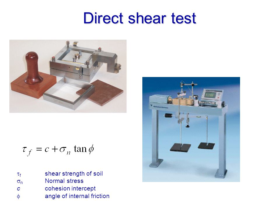 Direct shear test f shear strength of soil n Normal stress ccohesion intercept angle of internal friction