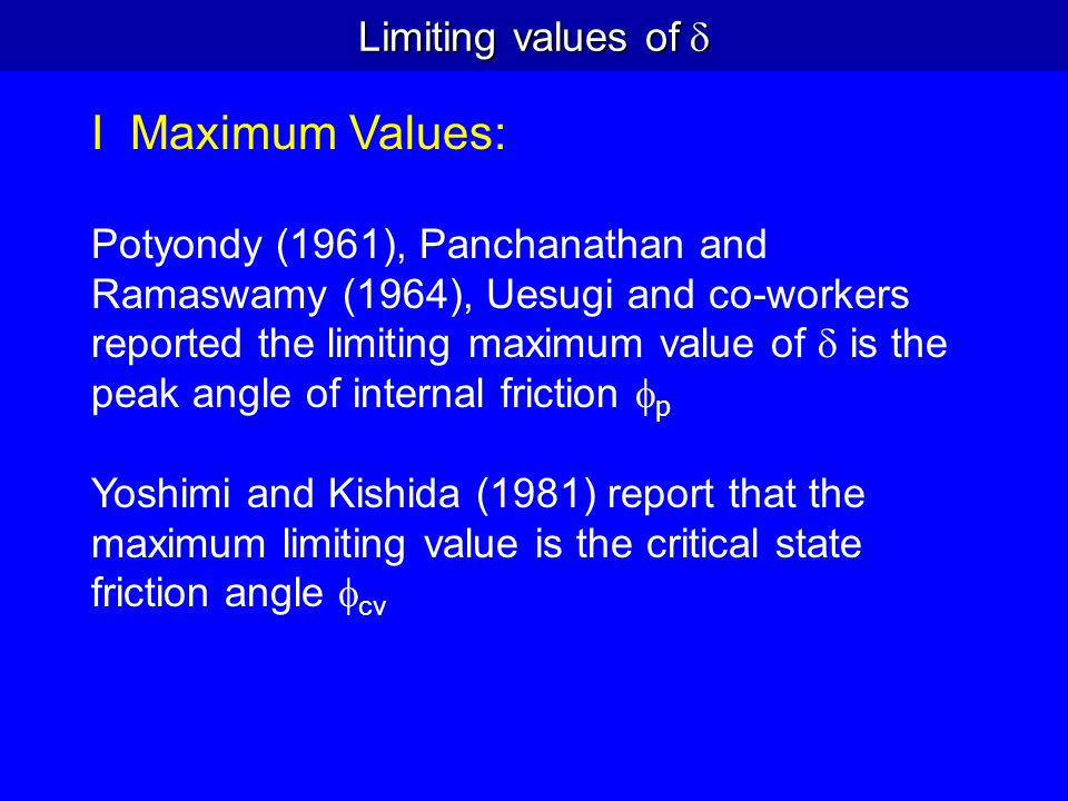 Limiting values of I Maximum Values: Potyondy (1961), Panchanathan and Ramaswamy (1964), Uesugi and co-workers reported the limiting maximum value of
