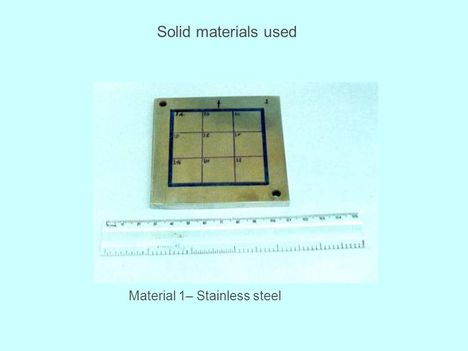 Solid materials used Material 1– Stainless steel
