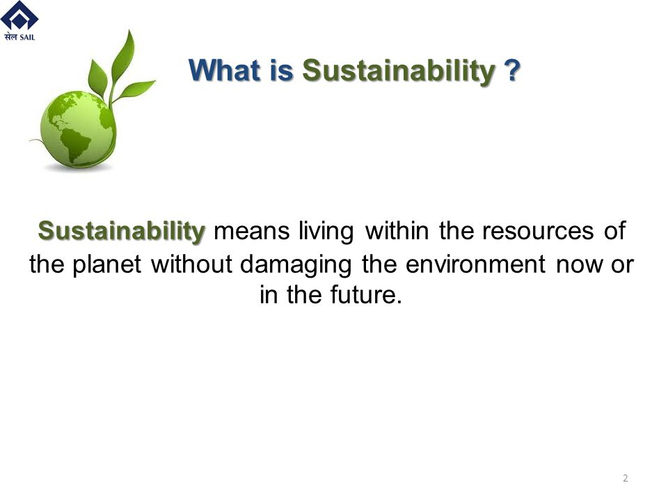 Sustainability Sustainability means living within the resources of the planet without damaging the environment now or in the future. What is Sustainab