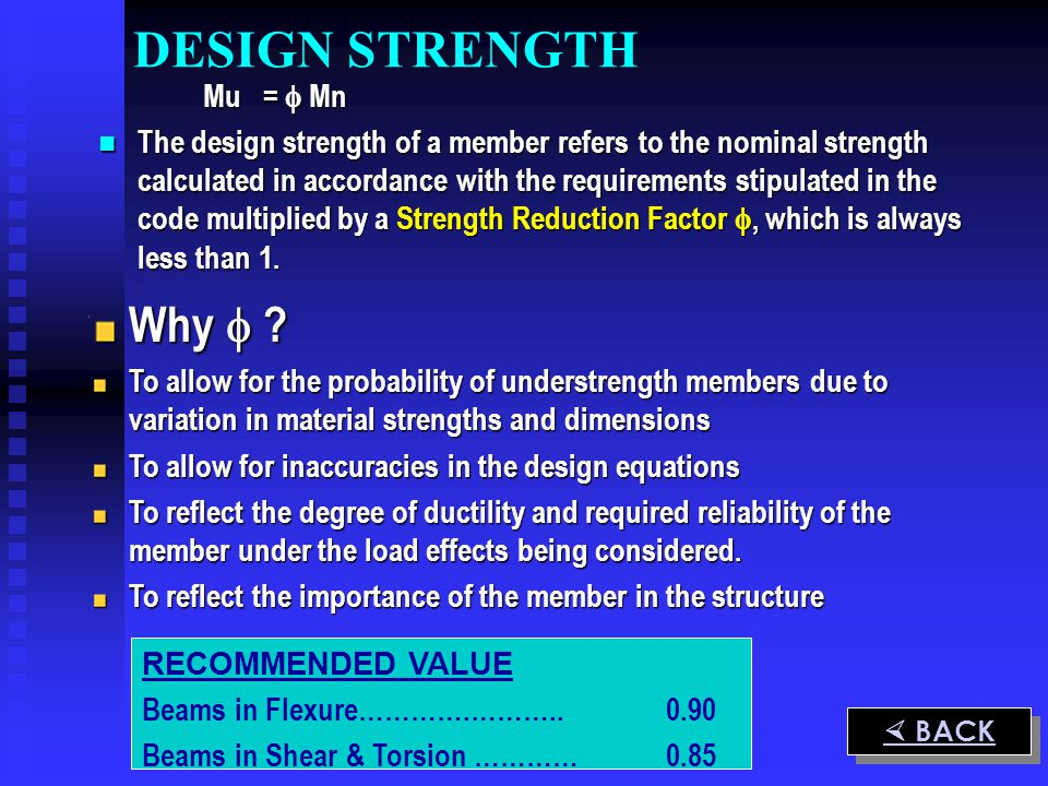 Mu = Mn The design strength of a member refers to the nominal strength calculated in accordance with the requirements stipulated in the code multiplie