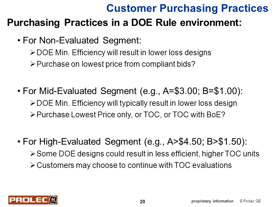 20 © Prolec GEproprietary information Customer Purchasing Practices Purchasing Practices in a DOE Rule environment: For Non-Evaluated Segment: DOE Min
