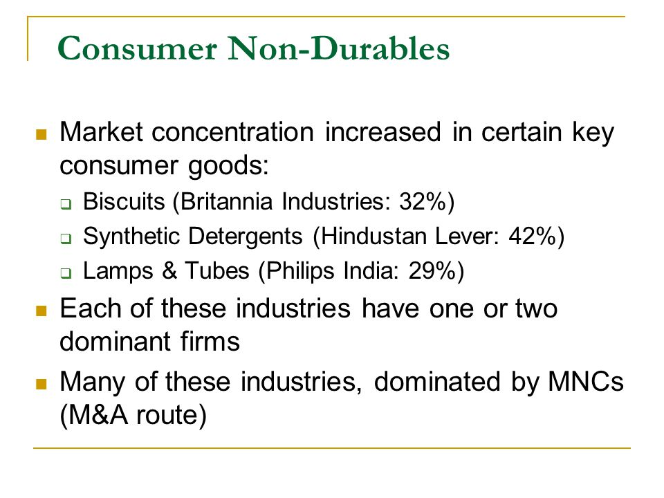 Consumer Non-Durables Market concentration increased in certain key consumer goods: Biscuits (Britannia Industries: 32%) Synthetic Detergents (Hindustan Lever: 42%) Lamps & Tubes (Philips India: 29%) Each of these industries have one or two dominant firms Many of these industries, dominated by MNCs (M&A route)