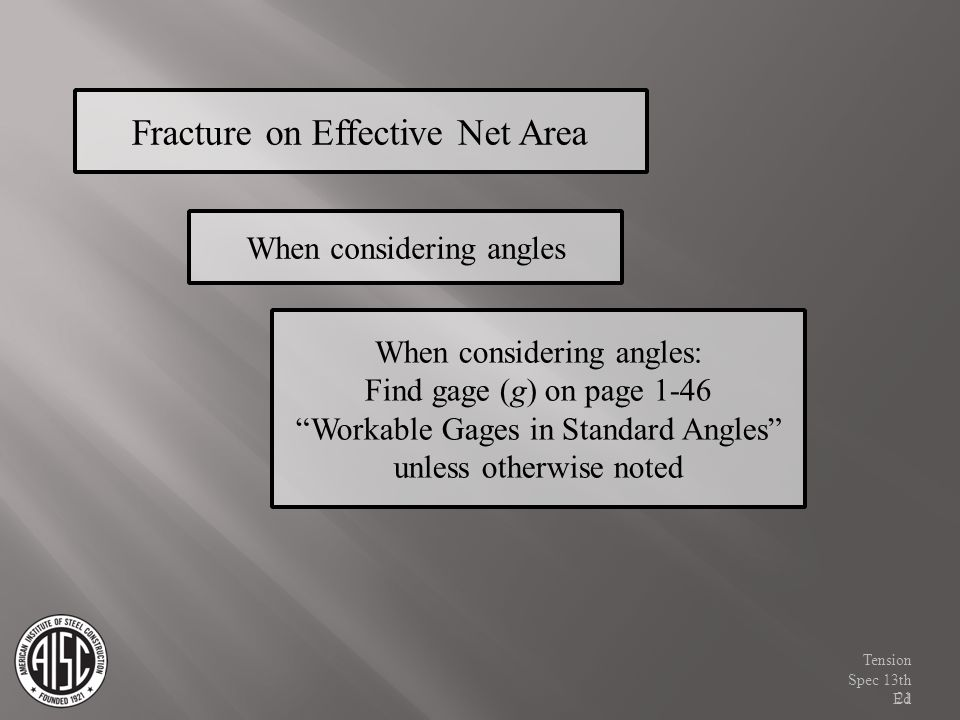 Fracture on Effective Net Area When considering angles When considering angles: Find gage (g) on page 1-46 Workable Gages in Standard Angles unless ot