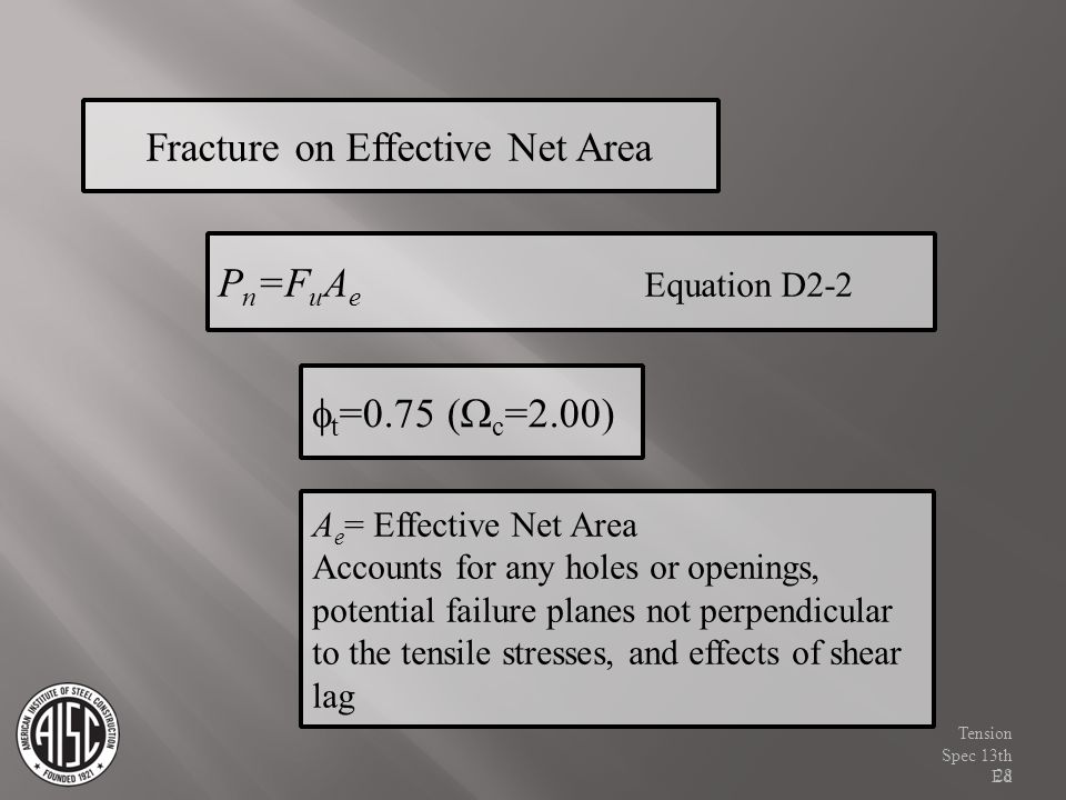 A e = Effective Net Area Accounts for any holes or openings, potential failure planes not perpendicular to the tensile stresses, and effects of shear