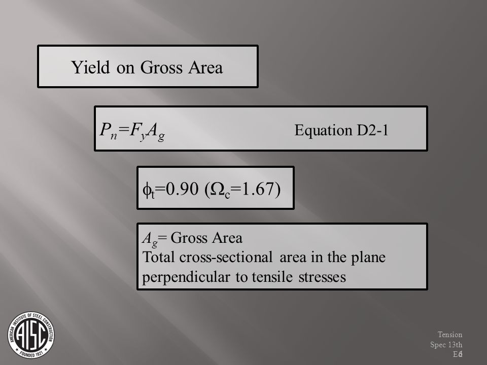 P n =F y A g Equation D2-1 Yield on Gross Area t =0.90 ( c =1.67) A g = Gross Area Total cross-sectional area in the plane perpendicular to tensile st