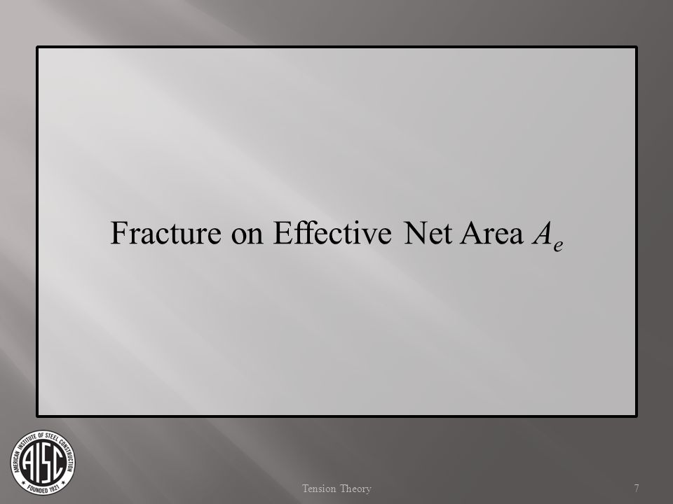 A e = Effective Net Area Accounts for any holes or openings, potential failure planes not perpendicular to the tensile stresses, and effects of shear lag P n =F u A e Equation D2-2 t =0.75 ( c =2.00) Fracture on Effective Net Area 8 Tension Spec 13th Ed