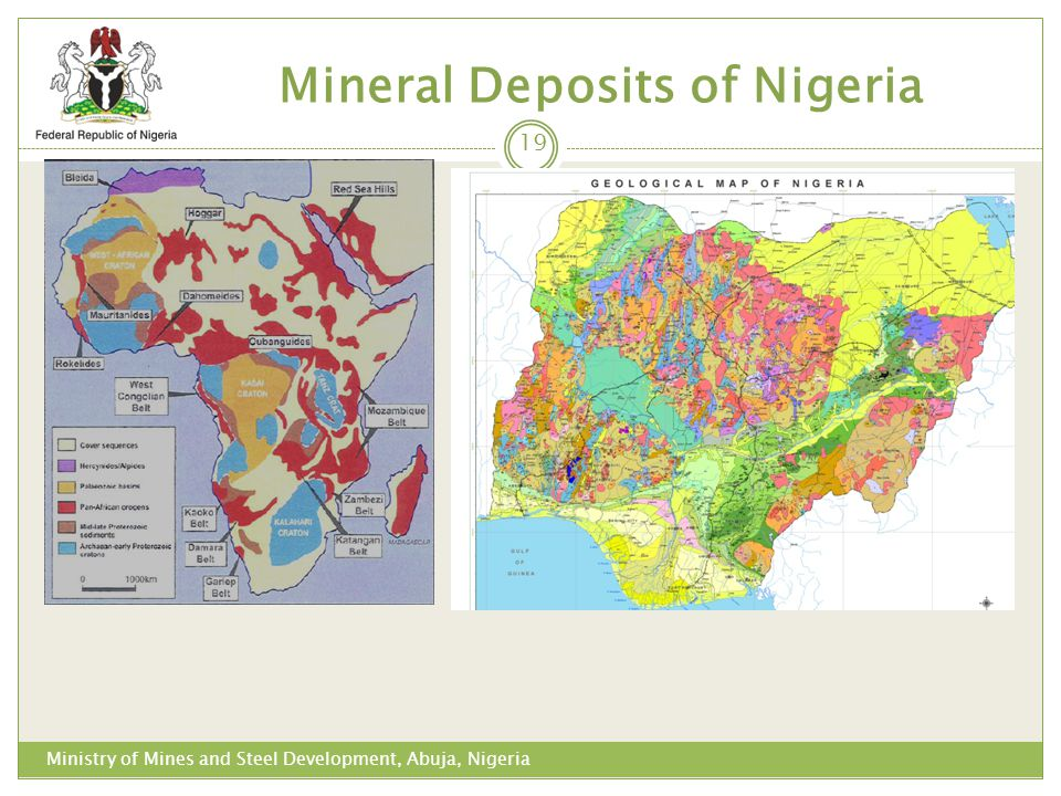 Mineral Deposits of Nigeria 19 Ministry of Mines and Steel Development, Abuja, Nigeria