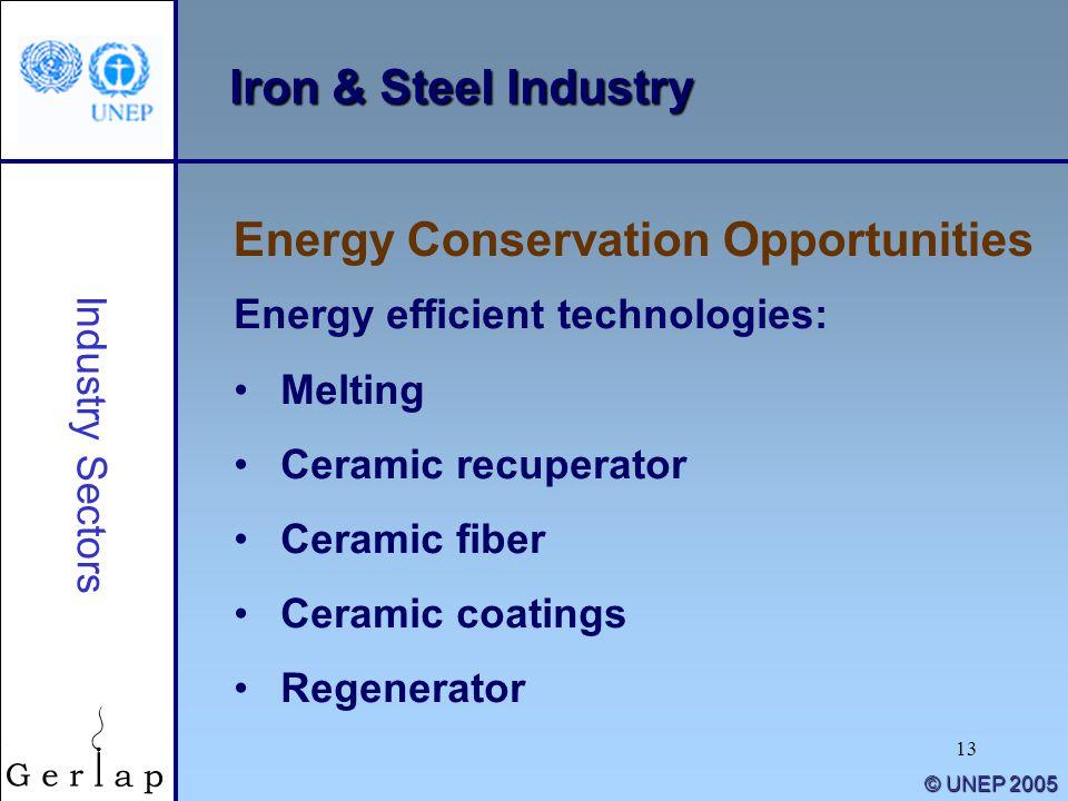 13 © UNEP 2005 Iron & Steel Industry Energy efficient technologies: Melting Ceramic recuperator Ceramic fiber Ceramic coatings Regenerator Energy Cons