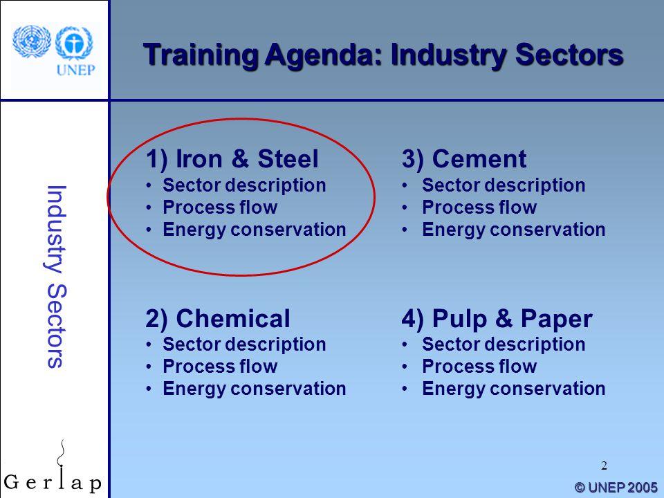 2 © UNEP 2005 Training Agenda: Industry Sectors 1) Iron & Steel Sector description Process flow Energy conservation 2) Chemical Sector description Pro