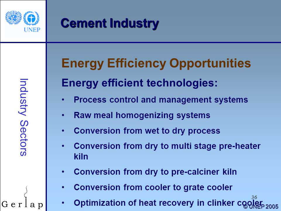 36 © UNEP 2005 Cement Industry Energy Efficiency Opportunities Industry Sectors Energy efficient technologies: Process control and management systems