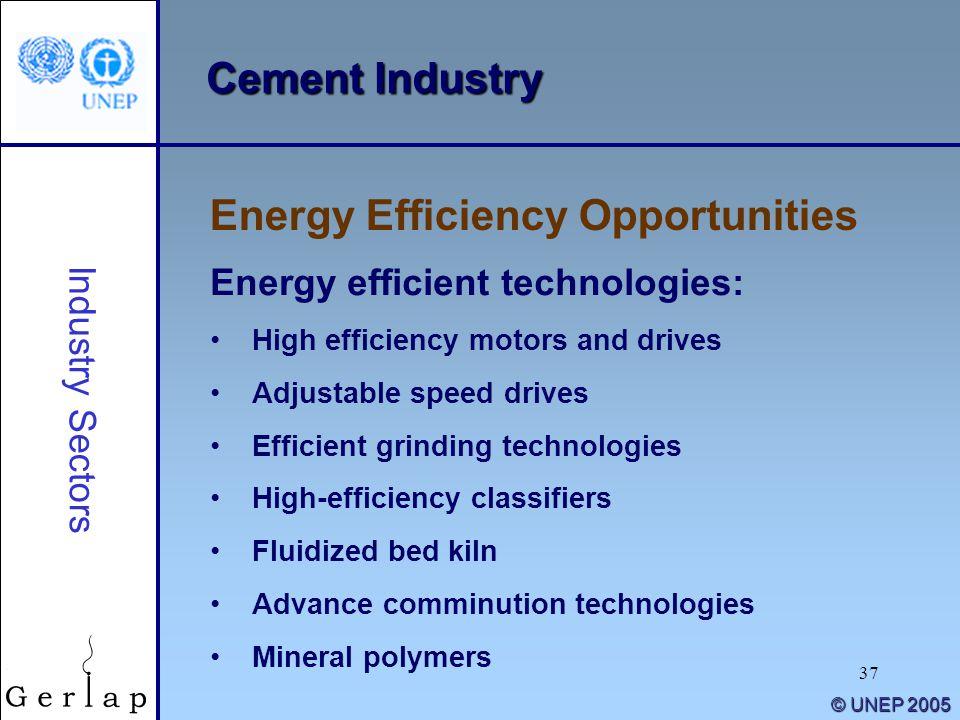 37 © UNEP 2005 Cement Industry Energy Efficiency Opportunities Industry Sectors Energy efficient technologies: High efficiency motors and drives Adjus