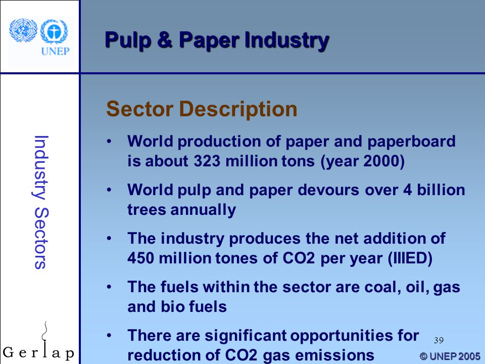 39 © UNEP 2005 Pulp & Paper Industry Sector Description Industry Sectors World production of paper and paperboard is about 323 million tons (year 2000